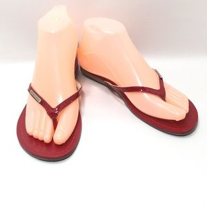 Michael Kors Red Leather Thong Slides Flip Flops